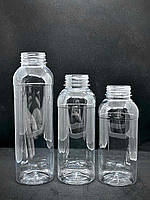 Бутылка пласт. прозр. с кр. 250 мл КВАДРАТНА с широким горлом PET 50шт/уп