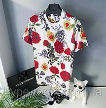 Мужская футболка в стиле Dolce Gabbana белая с рисунками дольче Габбана