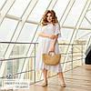 Платье с оборкой свободное натуральный штапель белый