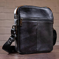 Сумка чоловіча гладка Vintage 14708 Чорна, фото 2