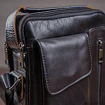 Сумка чоловіча гладка Vintage 14708 Чорна, фото 3
