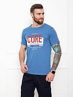 Мужская синяя футболка из трикотажа с молодежным принтом на лето