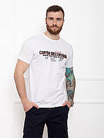 Мужская белая футболка из хлопка с принтом (надписями) на лето