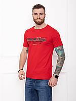 Мужская красная футболка из хлопка с принтом (надписями) на лето
