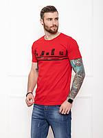 Мужская красная футболка из хлопка на лето с принтом