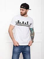 Трикотажная мужская белая футболка (хлопковая) с принтом на лето