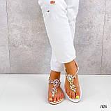 Жіночі босоніжки білі з камінням через палець еко-шкіра, фото 6
