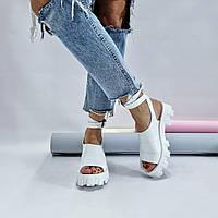 Модные женские босоножки 2021 кожаные в стиле Прада белые 36 37 38 39 40