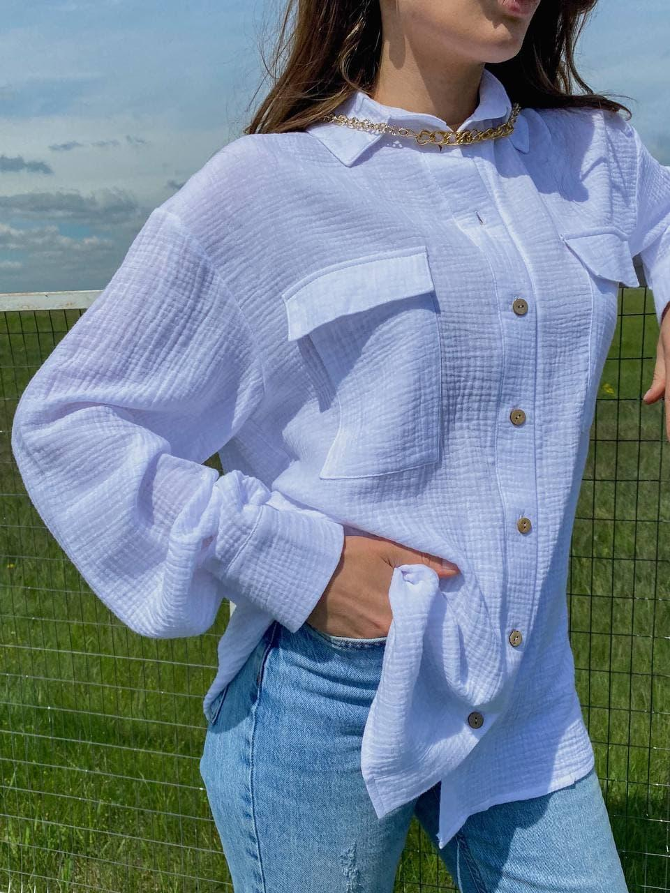 Модна біла однотонна сорочка з накладними кишенями White