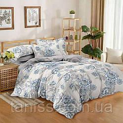 """Евро комплект постельного белья  """"ранфорс"""", расцветка как на фото, цветы"""