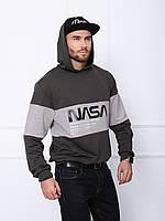Мужское темно-серое трикотажное худи с принтом NASA на лето/осень/весну