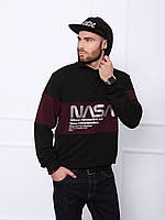 Мужское черно-бордовое трикотажное худи с принтом NASA на лето/весну/осень