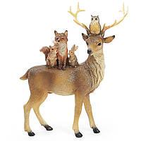 Новорічна стуэтка (фігурка) Лісовий олень 24см Декор і прикраса для будинку на Новий рік і Різдво