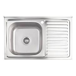 Кухонна мийка Lidz 5080-L Decor 0,8 мм (LIDZ5080LDEC06)