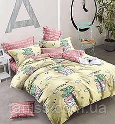 """Евро комплект постельного белья  """"ранфорс"""", расцветка как на фото, кактусы"""
