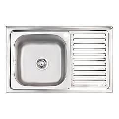 Кухонна мийка Lidz 5080-L Satin 0,8 мм (LIDZ5080LSAT8)