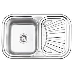 Кухонна мийка Lidz 7549 dekor 0,8 мм (LIDZ7549MICDEC)