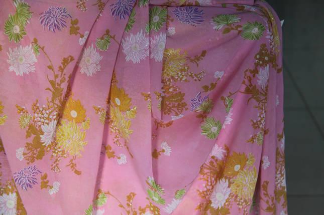 Шифон с блестками розовый, цветы, фото 2