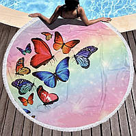 """РОЗПРОДАЖ!!! Кругле пляжний рушник з бахромою """"Метелики"""" (150 см)"""