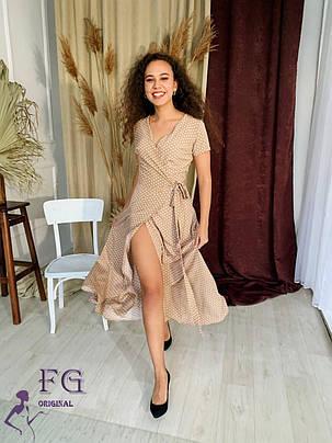 ММодное жіноча літнє плаття довге в горох, фото 2