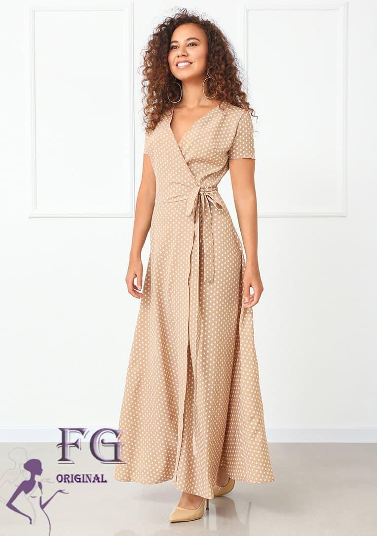 ММодное жіноча літнє плаття довге в горох