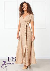 ММодное женское летнее платье длинное в горох