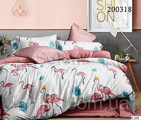 """Евро комплект постельного белья  """"ранфорс"""", расцветка как на фото,  фламинго на белом"""