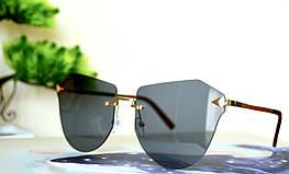 Солнцезащитные черные очки без оправы
