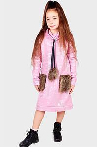 Платье детское пудра на флисе ABC 124645P