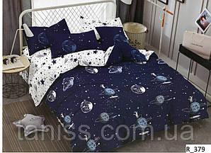 """Евро комплект постельного белья  """"ранфорс"""", расцветка как на фото, планеты"""