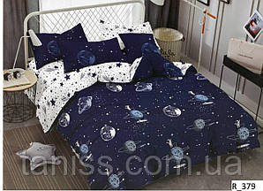"""Семейный набор постельного белья  """"ранфорс"""",  расцветка как на фото, планеты"""