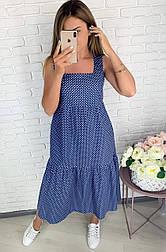 Літнє плаття жіноче льон довжини міді