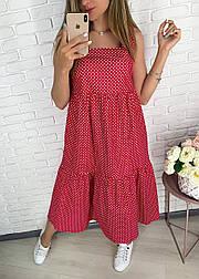Стильне плаття літнє лляне в горошок