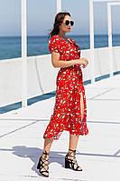 Красивое лёгкое летнее женское платье сарафан миди с разрезом красное с цветами 44 46 48 50