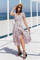 Красивое лёгкое летнее женское платье сарафан миди с разрезом пудровое с цветами 44 46 48 50