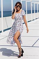 Красивое лёгкое летнее женское платье сарафан миди с разрезом голубое с цветами 44 46 48 50