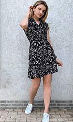 Жіноче літнє плаття в горошок з коротким рукавом