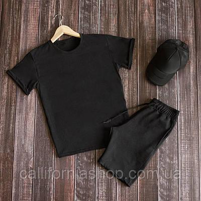 Мужской комплект черный футболка и шорты костюм двойка летний