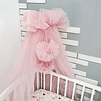 Балдахін на дитяче ліжечко рожевий