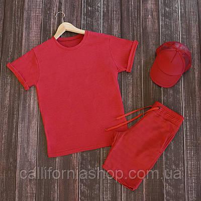Мужской летний комплект футболка шорты костюм двойка красный