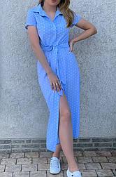 Жіноче літнє плаття в горошок довжини міді