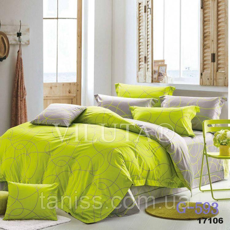 """Евро комплект постельного белья Бязь """"Gold"""", расцветка как на фото , салатовое"""