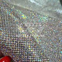 Стразовое термополотно, колір Crystal AB (ss6) відрізок 1*24см