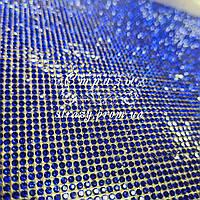 Стразовое термополотно, цвет Sapphire (ss6) отрезок 1*24см
