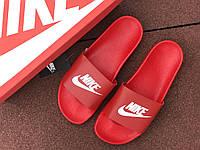 Шлепки Nike мужские, красные с белым, лето