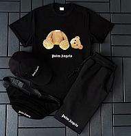Мужской комплект футболка шорты Palm Angels / Летний спортивный костюм с медведем