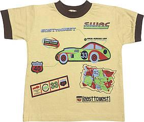 Дитяча футболка на хлопчика ріст 98 2-3 роки для малюків з принтом малюнком гарна трикотажна гірчична