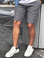Мужские шорты черные в белую полоску лен, бриджи мужские льняные полосатые