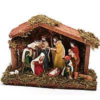 Різдвяний вертеп (шопка) 9 фігур фарфор 18 см Декор і прикраса для будинку на Новий рік