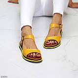 Босоніжки жіночі жовті натуральна шкіра, фото 3